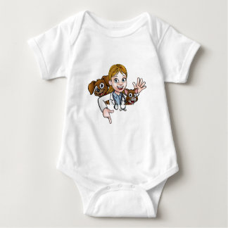 Woman Vet Cartoon Character Pointing Sign Baby Bodysuit
