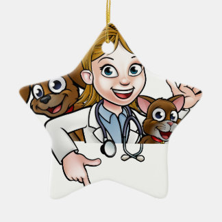 Woman Vet Cartoon Character Pointing Sign Ceramic Ornament
