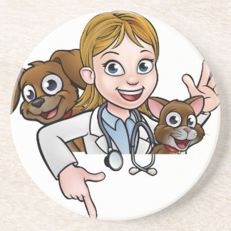 Woman Vet Cartoon Character Pointing Sign Coaster