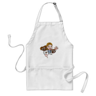 Woman Vet Cartoon Character Pointing Sign Standard Apron