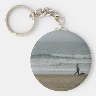 Woman Walking Dog Along Pismo Beach, CA Basic Round Button Key Ring