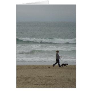 Woman Walking Dog at Pismo Beach, CA Card