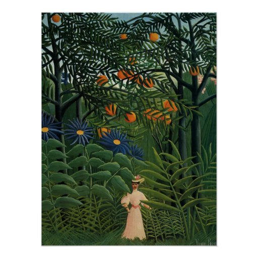 'Woman Walking in an Exotic Forest' Print