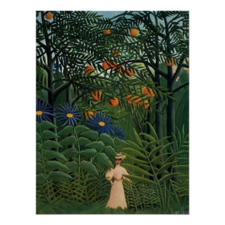 Woman Walking in an Exotic Forest Print