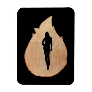 woman walking through fire magnet