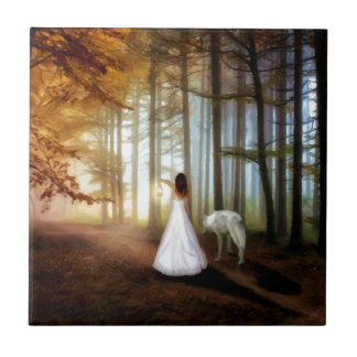 Woman Walking With a Wolf Small Square Tile