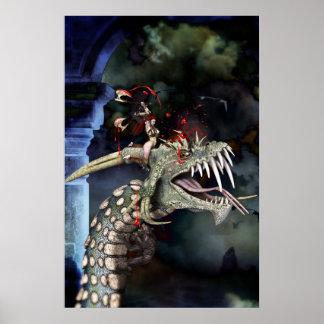 Woman Warrior Battles Dragon Poster