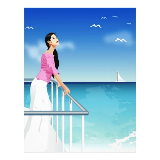 woman watching the sea flyer design