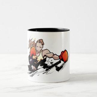 Woman wearing boxing glove Two-Tone coffee mug