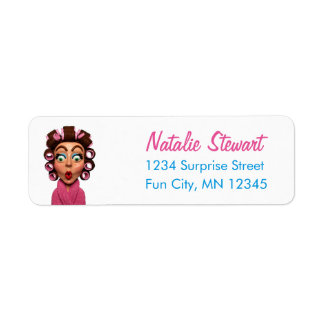 Woman Wearing Curlers Retro Unique Pink Return Address Label