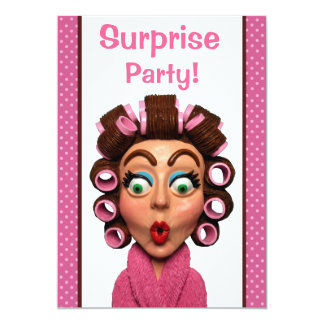 Woman Wearing Curlers Surprise Party Personalized Invite