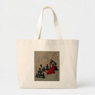 Woman Wearing Red Kimono Holding Fan Canvas Bag