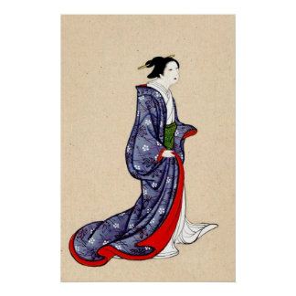 Woman Wearing Robe and Kimono 1878 Poster