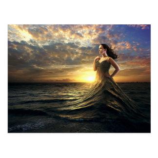 Woman Wears the Ocean as Dress Postcard