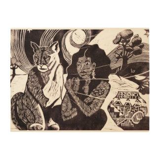 Woman, Wild Cat & Starry Night 24x18 Wood Wall Art