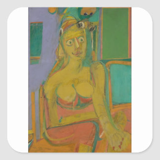 woman William De Koonig Square Sticker