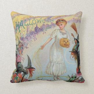 Woman Witch Goblin Jack O Lantern Pumpkin Cushion