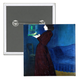 Woman with a Bird Cage 15 Cm Square Badge