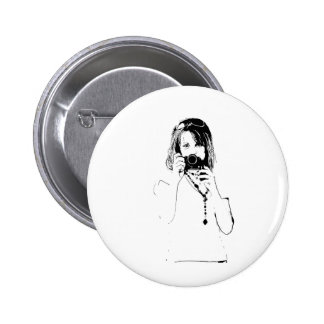 woman with a camera 6 cm round badge