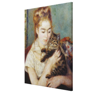 <Woman with a Cat> by Pierre-Auguste Renoir Canvas Prints