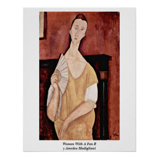 Woman With A Fan By Amedeo Modigliani Poster