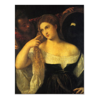 Woman with a Mirror by Titian, Vintage Renaissance 11 Cm X 14 Cm Invitation Card