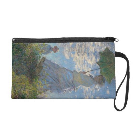 Woman with a Parasol by Claude Monet Wristlet Clutch