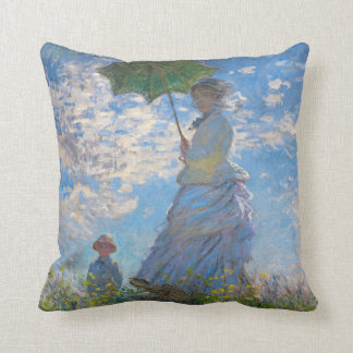 Woman with a Parasol by Claude Monet Cushion