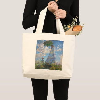 Woman with a Parasol by Claude Monet Large Tote Bag