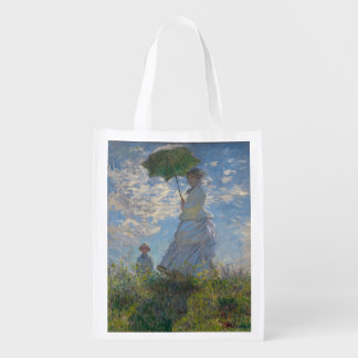 Woman with a Parasol by Claude Monet Grocery Bags