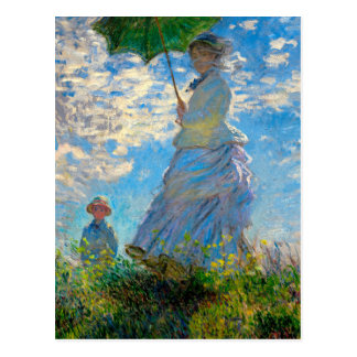 Woman with a Parasol Claude Monet Impressionist Postcard