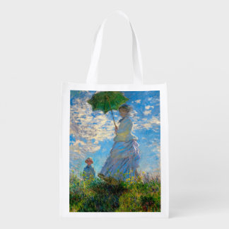 Woman with a Parasol Claude Monet Impressionist Reusable Grocery Bags