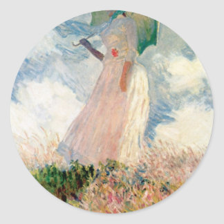 Woman with a Parasol - Claude Monet Round Sticker