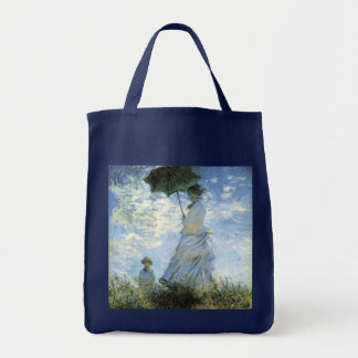 Woman with a Parasol Grocery Tote Bag