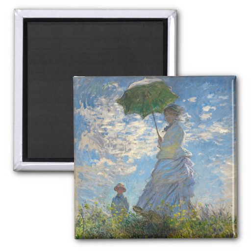 Woman with a Parasol - Madame Monet and Her Son Magnets