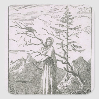 Woman with a Raven, on the Edge of a Precipice Square Sticker