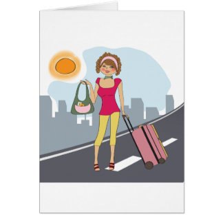 Woman With A Suitcase Greeting Card