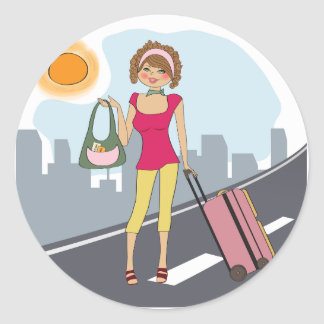 Woman With A Suitcase Round Sticker