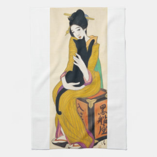 Woman with Black cat, Yumeji Takehisa Tea Towel