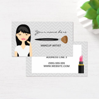 Woman With Black Long Hair Makeup Artist Business Card