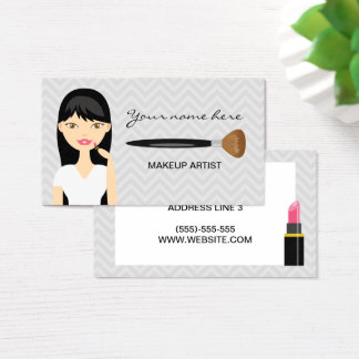 Woman With Black Long Hair Makeup Artist Business Card