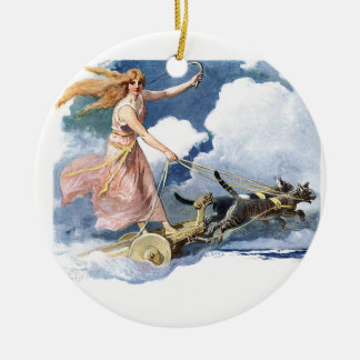 Woman with Cat Chariot Artwork Christmas Tree Ornament