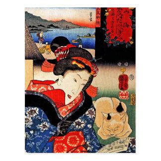 Woman with Cat - Japanese Art - Utagawa Kuniyoshi Postcard