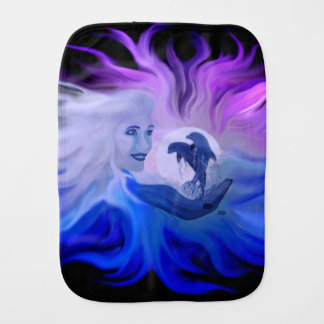 Woman with dolphins in the moonlight burp cloth