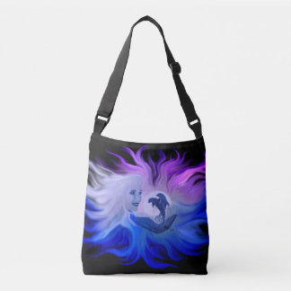 Woman with dolphins in the moonlight crossbody bag