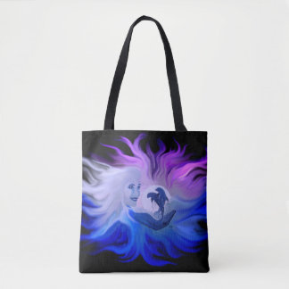 Woman with dolphins in the moonlight tote bag