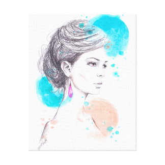 Woman with earring fashion illustration sketch canvas print