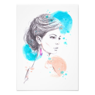 Woman with earring fashion illustration sketch photo print