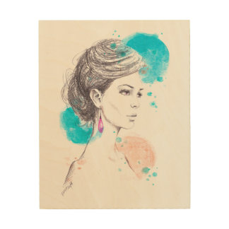 Woman with earring fashion illustration sketch wood print