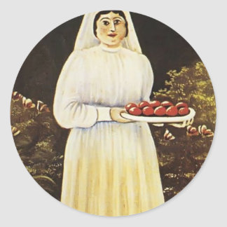 Woman with Easter Eggs by Niko Pirosmani Round Sticker